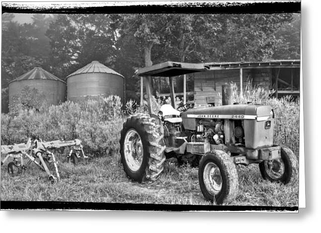 Old House Photographs Photographs Greeting Cards - John Deere in Black and White Greeting Card by Debra and Dave Vanderlaan