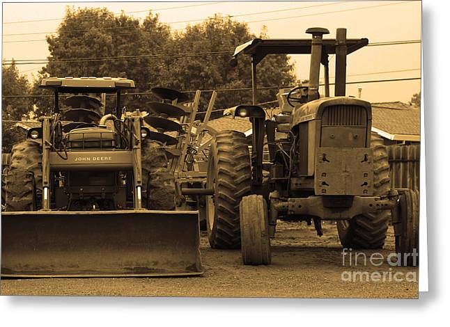 Farm Towns Greeting Cards - John Deere Tractors Greeting Card by Wingsdomain Art and Photography