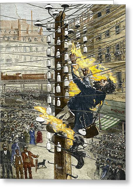 Electrocution Greeting Cards - John Feeks Being Electrocuted, 1889 Greeting Card by Sheila Terry