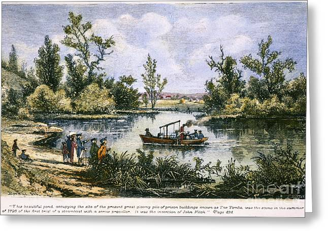Steamboat Greeting Cards - John Fitch Steamboat, 1796 Greeting Card by Granger