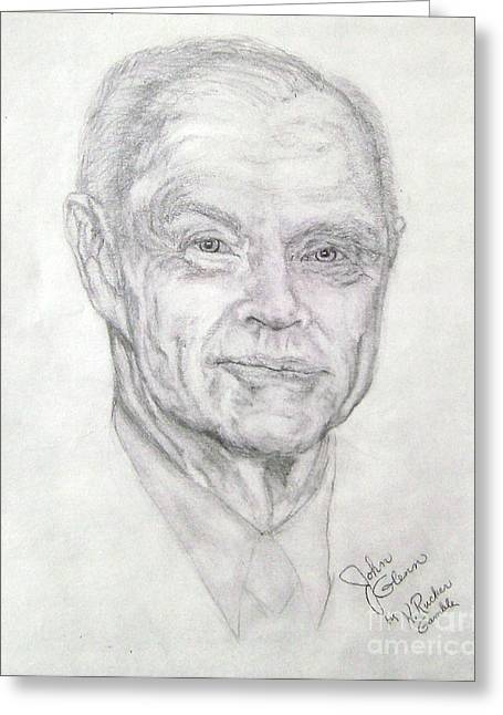 Famous Person Drawings Greeting Cards - John Glenn - Astronaut  Greeting Card by Nancy Rucker