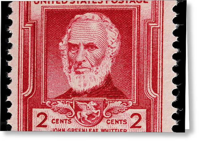 Quaker Greeting Cards - John Greenleaf Whittier postage stamp Greeting Card by James Hill