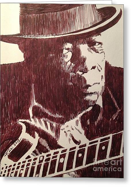 Robbi Musser Pen And Ink Greeting Cards - John Lee Hooker Greeting Card by Robbi  Musser