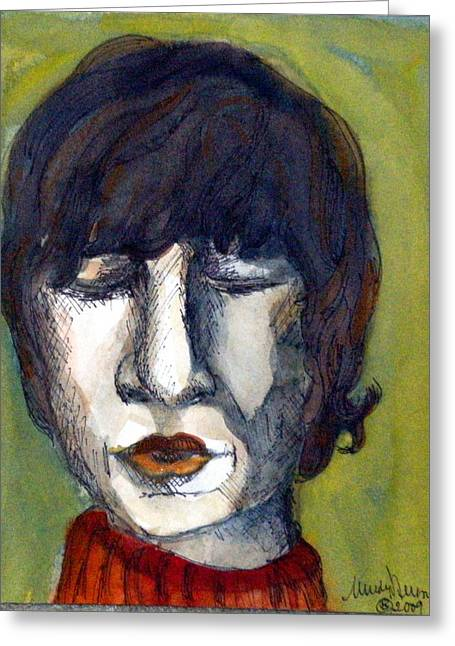 Fame Drawings Greeting Cards - John Lennon as an Elf Greeting Card by Mindy Newman