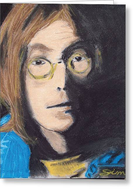 Colorful Photography Drawings Greeting Cards - John Lennon Pastel Greeting Card by Jimi Bush