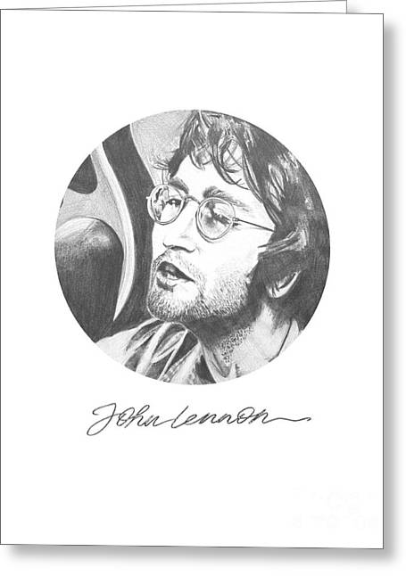 Beatles Canvas Greeting Cards - John Lennon Greeting Card by Six Artist