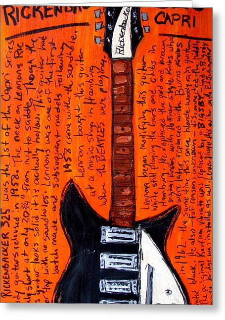 Iconic Guitar Greeting Cards - John Lennons Rickenbacker Greeting Card by Karl Haglund