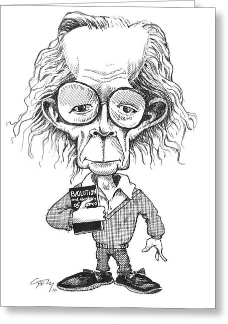 Problem Greeting Cards - John Maynard Smith, Caricature Greeting Card by Gary Brown