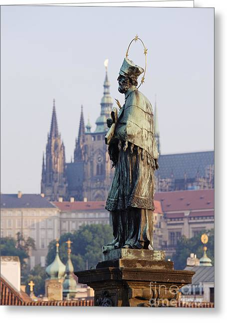 St Charles Bridge Greeting Cards - John of Nepomuk Statue Greeting Card by Jeremy Woodhouse