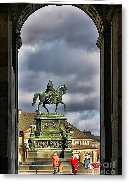 Riders Greeting Cards - John of Saxony Monument - Dresden Theatre Square Greeting Card by Christine Till