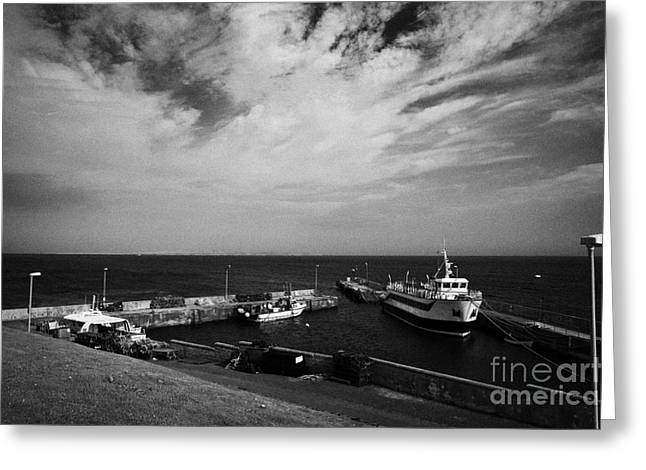 Groat Greeting Cards - John OGroats harbour with orkney ferry scotland uk Greeting Card by Joe Fox