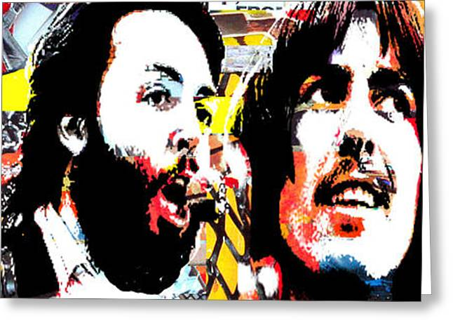 1960 Greeting Cards - John Paul George Ringo Greeting Card by Kevin Newton