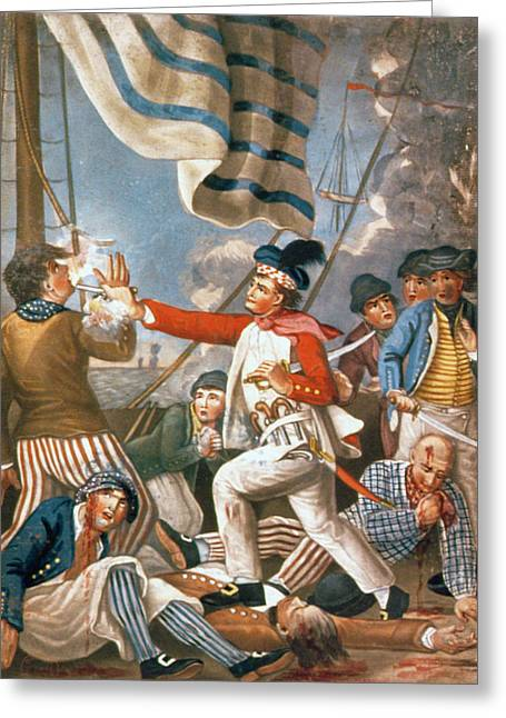 Flag Of Usa Greeting Cards - John Paul Jones Shooting a Sailor Who had Attempted to Strike His Colours in an Engagement Greeting Card by John Collet