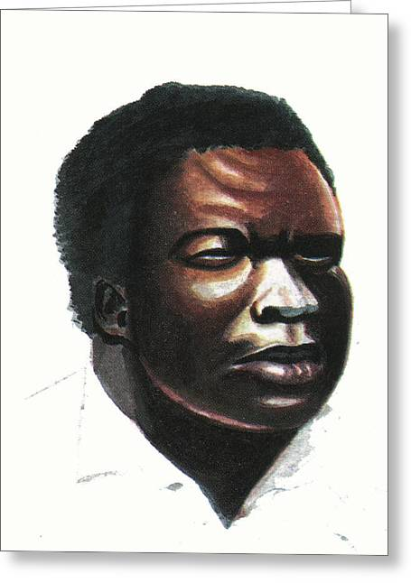 Zimbabwe Drawings Greeting Cards - John Takawira Greeting Card by Emmanuel Baliyanga