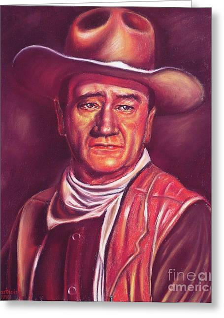 1907 Pastels Greeting Cards - John Wayne Greeting Card by Anastasis  Anastasi