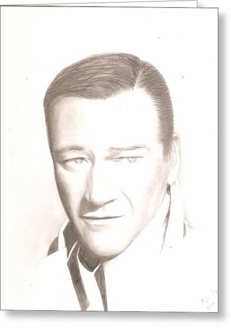 John Wayne Drawings Greeting Cards - John Wayne Greeting Card by Chris Jorge
