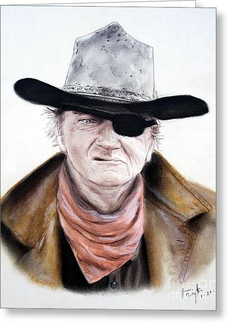Snakes Pastels Greeting Cards - John Wayne  Greeting Card by Jim Fitzpatrick