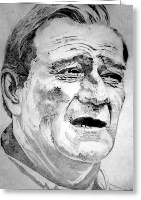 Presidential Medal Of Freedom Drawings Greeting Cards - John Wayne - Large Greeting Card by Robert Lance