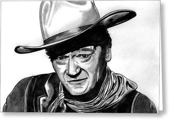 Silver Eye Shadow Greeting Cards - John Wayne Greeting Card by Ralph Harlow