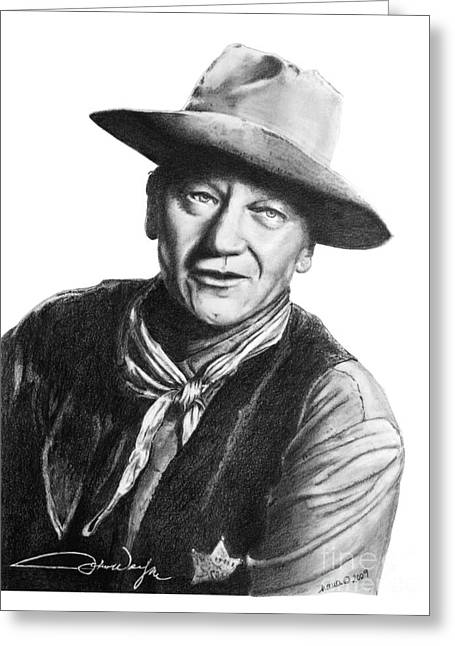 Wild Life Drawings Greeting Cards - John Wayne  Sheriff Greeting Card by Marianne NANA Betts