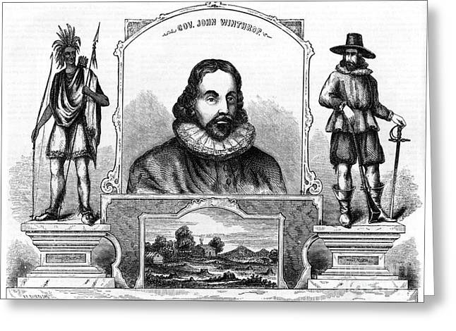 Winthrop Greeting Cards - John Winthrop, English Puritan Lawyer Greeting Card by Photo Researchers