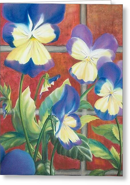 Johnny Jump Up Pansy Greeting Cards - Johnnies Jumped Up Greeting Card by Connie Sherman