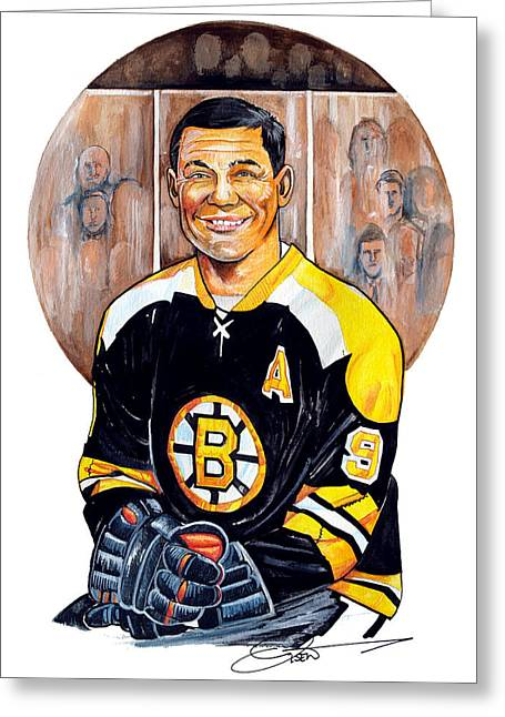 Nhl Hockey Drawings Greeting Cards - Johnny Bucyk Greeting Card by Dave Olsen