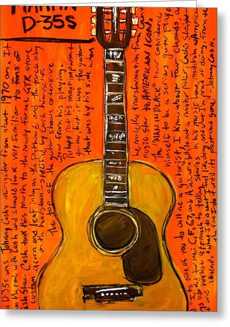 Iconic Guitar Greeting Cards - Johnny Cashs Martin Greeting Card by Karl Haglund