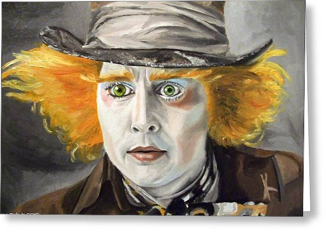 Mad Hatter Greeting Cards - Johnny Depp - The Mad Hatter Greeting Card by Ina Schulz