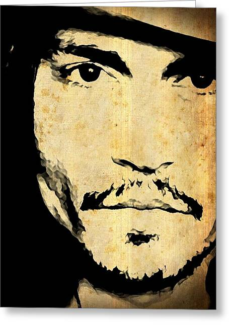 Rum Mixed Media Greeting Cards - JOHNNY DEPP - Up Close and Personal Greeting Card by Lauranns Etab