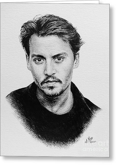 Movie Star Drawings Greeting Cards - Johnny Depp Greeting Card by Andrew Read
