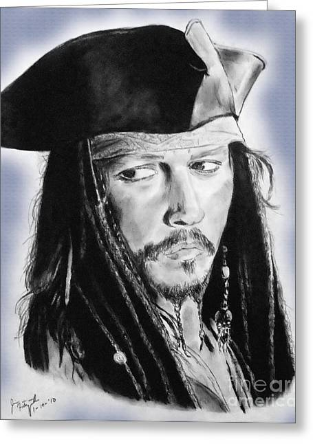 Johnny Depp As Captain Jack Sparrow In Pirates Of The Caribbean II Greeting Card by Jim Fitzpatrick