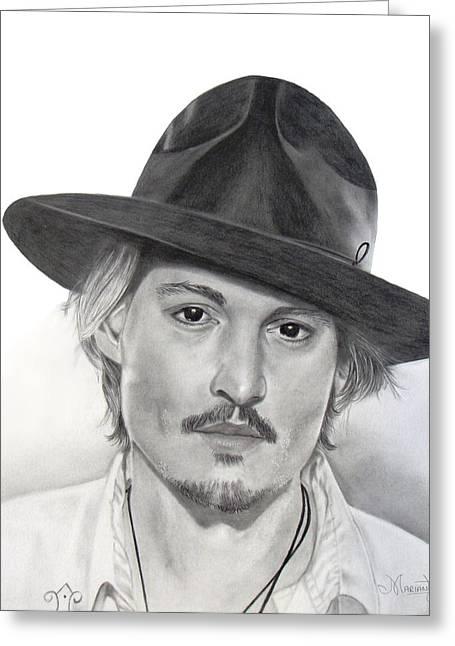 Las Vegas Drawings Greeting Cards - Johnny Depp Greeting Card by Marianthisart Doukakis- Haertel