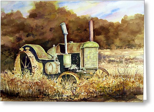 Tractors Greeting Cards - Johnny Popper Greeting Card by Sam Sidders