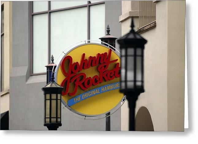 Hamburger Greeting Cards - Johnny Rocket Signage Greeting Card by Jill Reger