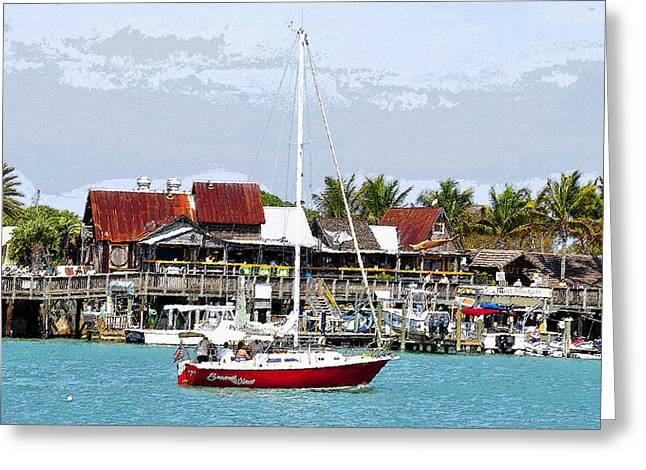 Sailing Boat Digital Art Greeting Cards - Johns Pass Florida Greeting Card by David Lee Thompson