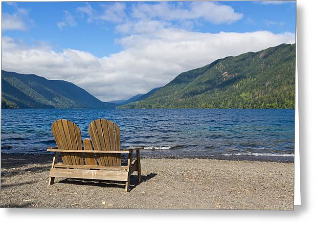 Lake Crescent Greeting Cards - Join Me Greeting Card by Heidi Smith