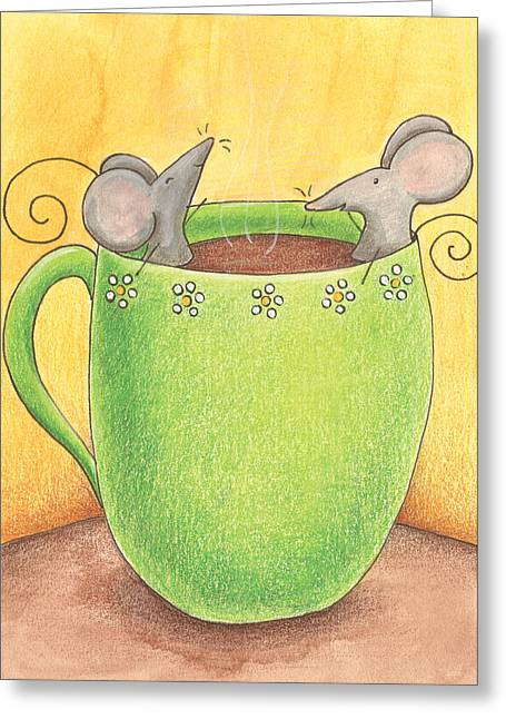 Homes Drawings Greeting Cards - Join Me in a Cup of Coffee Greeting Card by Christy Beckwith