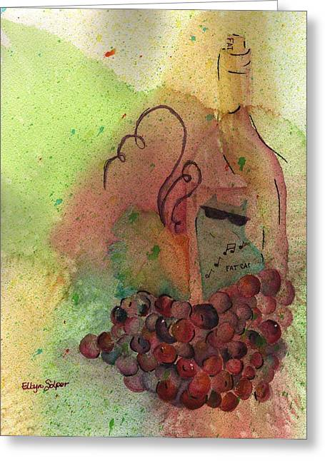 Red Cat Wine Greeting Cards - Join Me in a Glass Greeting Card by Ellyn Solper