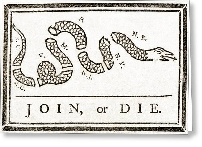 Join Or Die Greeting Cards - Join Or Die French And Indian War Greeting Card by Photo Researchers