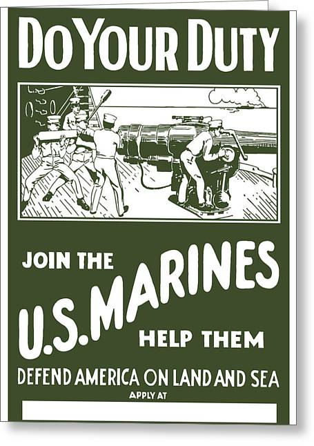 Ww11 Greeting Cards - Join The US Marines Greeting Card by War Is Hell Store