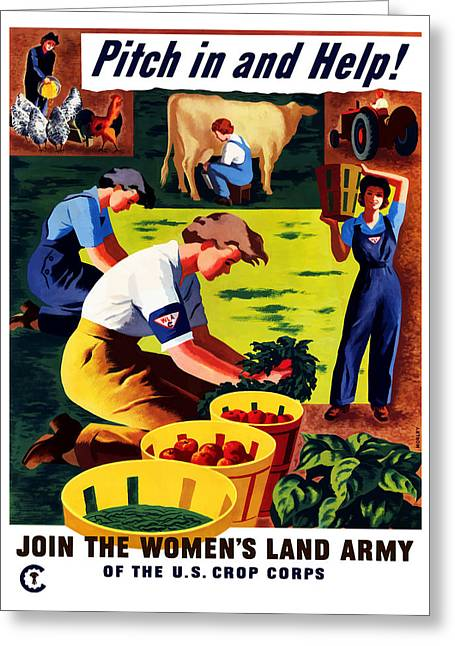 Ww11 Greeting Cards - Join The Womens Land Army Greeting Card by War Is Hell Store