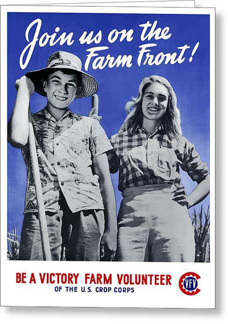 Farming Greeting Cards - Join Us On The Farm Front Greeting Card by War Is Hell Store