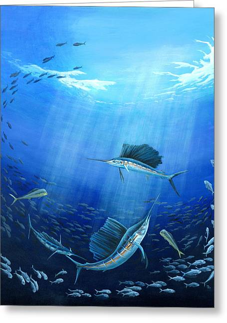 Swordfish Greeting Cards - Joint Venture Greeting Card by Sandra Camper