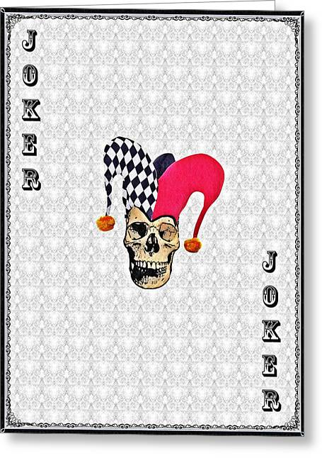 Cards Vintage Mixed Media Greeting Cards - Joker Greeting Card by Bill Cannon