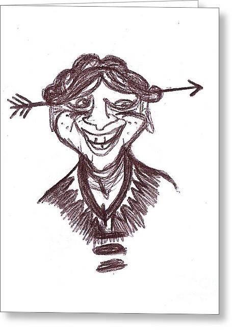 Joke Drawings Greeting Cards - Jokey McJokster Greeting Card by Michael Mooney