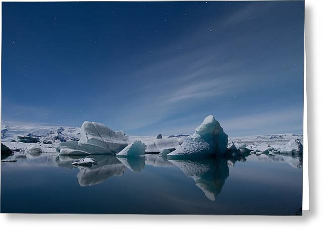 Cloudscape Greeting Cards - Jokulsarlon at Night Greeting Card by Andres Leon