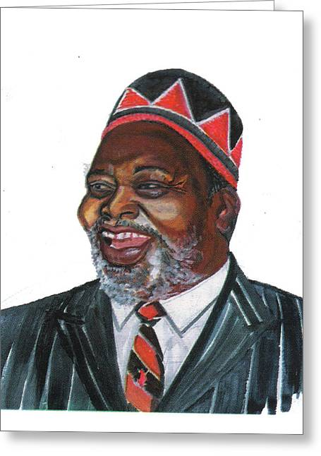 Emmanuel Baliyanga Greeting Cards - Jomo Kenyatta Greeting Card by Emmanuel Baliyanga