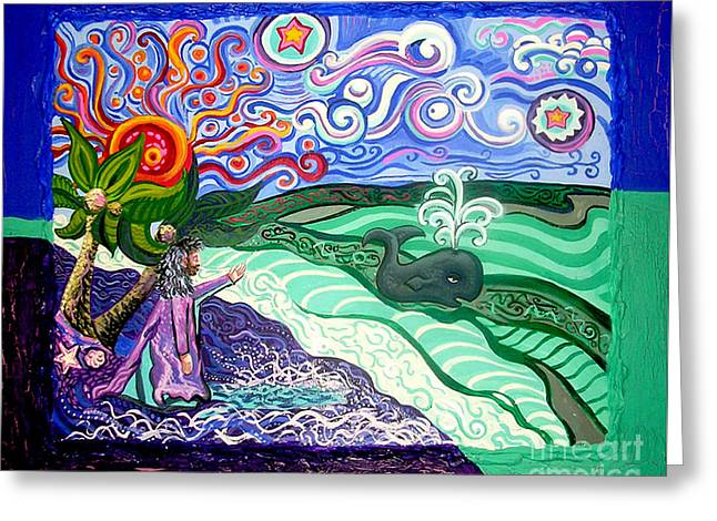 Posters On Mixed Media Greeting Cards - Jonah and The Whale Greeting Card by Genevieve Esson