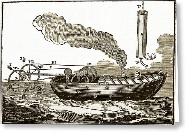 Steamboat Greeting Cards - Jonathan Hulls Steamboat, 18th Century Greeting Card by Sheila Terry